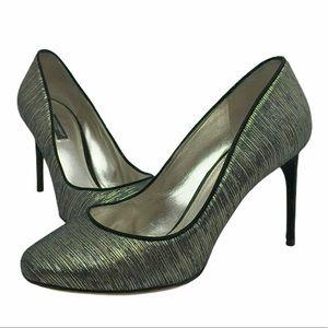 Dolce & Gabbana Silk Suede Metallic Heels